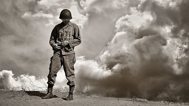 <p>War weary WWII soldier during a retrospective moment<br></p>