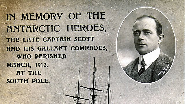 <p>Postcard commemorating explorer Robert Falcon Scott.<br></p>