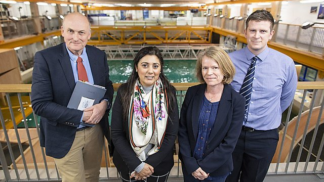 <p>Nusrat Ghani MP with Professor Richard Thompson OBE, Professor Deborah Greaves OBE and Deputy Harbour Master Richard Allan<br></p>
