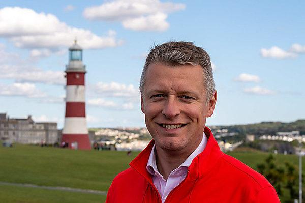 <p>Luke Pollard MP on the Plymouth Hoe</p>