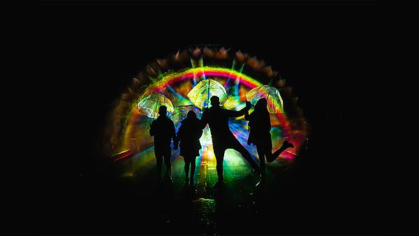 <p>'Rainbow in the Dark' by Mandala Lighting Ltd at Illuminate 2018, image courtesy of One Plymouth<br></p>