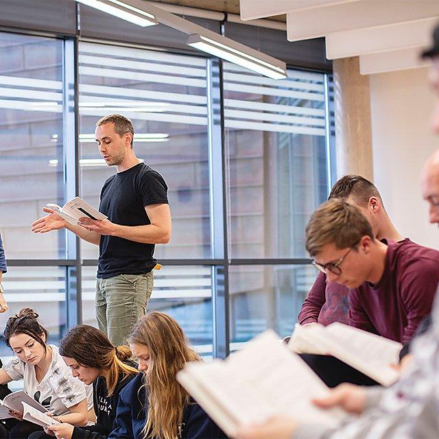 <p>John Matthews teaching acting</p>