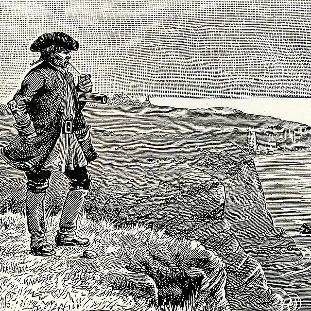 "<p>""All day he hung round the cove, or upon the cliffs, with a brass telescope.""</p>"