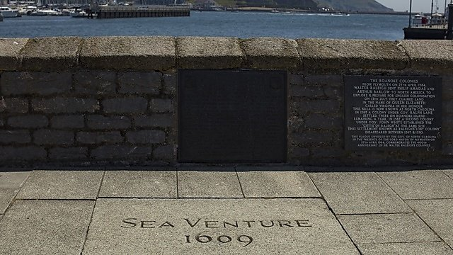 <p>Looking out to sea on the Mayflower Steps in the Barbican, Plymouth.</p>