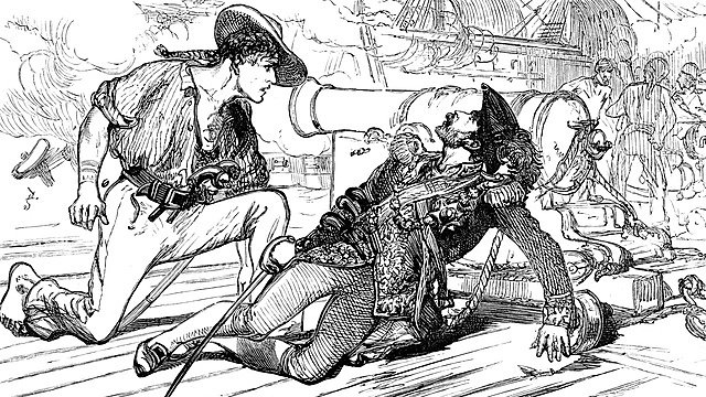 <p>Vintage engraving from 1878 showing the death of the pirate captain Bartholomew Roberts, pirate who raided ships off America and West Africa between 1719 and 1722.&nbsp;</p>