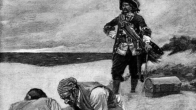 <p>Captain William Kidd and pirates burying treasure on Gardiner's Island in New York, USA <br></p>
