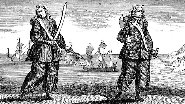 <p>Vintage engraving from 1878 showing female pirates Mary Read and her comrade, Anne Bonny.<br></p>