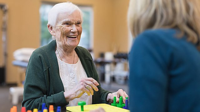 <p>Occupational therapist works with an elderly woman.<br></p>