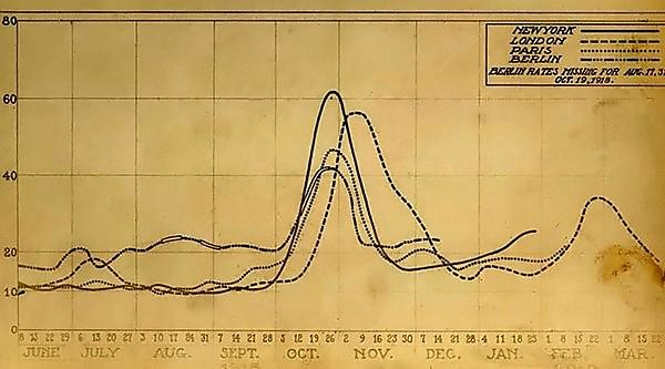 A chart showing mortality from the 1918 influenza pandemic in the US and Europe (Credit: National Museum of Health and Medicine)