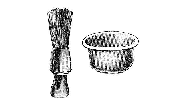 <p>Vintage illustration of&nbsp; shaving brush</p>