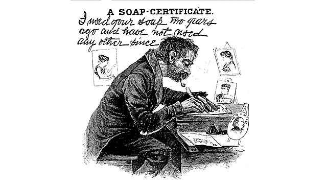 """<p>""""A Soap Certificate"""" (satire of an advertising testimonial), from Harry Furniss, Confessions of a Caricaturist (1902).<br></p>"""