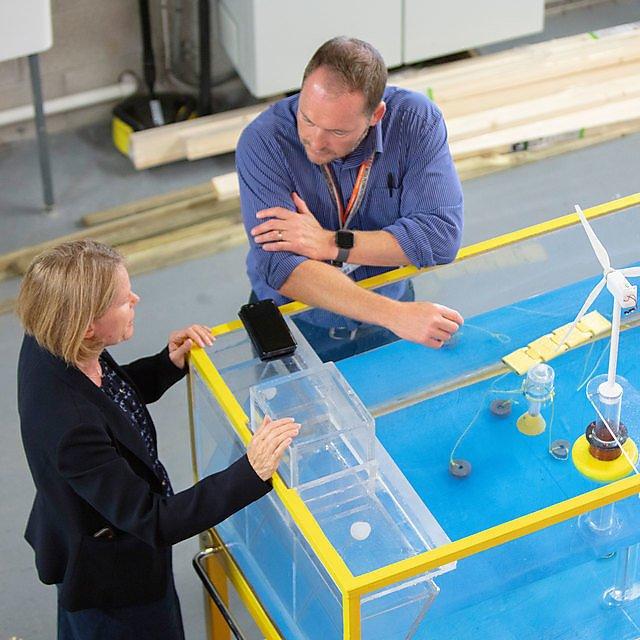 <p>Deboorah Greaves demonstrates COAST Lab facilities</p>