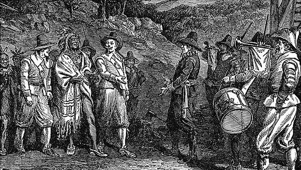 Pilgrims receiving Massasoit