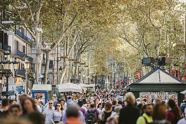 The streets of Barcelona are normally bustling with locals and tourists for much of the year