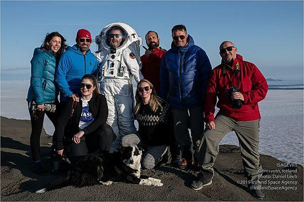 Benjamin Pothier (right) with the team from the Iceland Space Agency