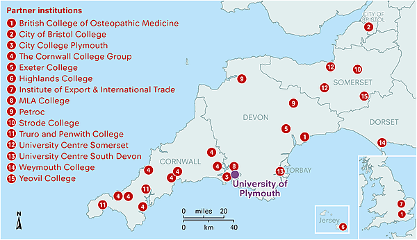 Map displaying our current partner college network