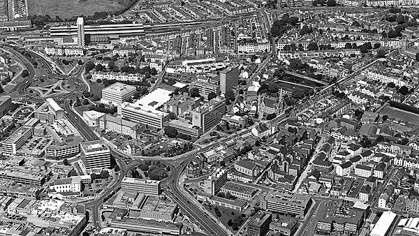<p>Old aerial view of campus&nbsp;</p>