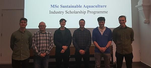 <p>Dr Daniel Merrifield with scholarship recipients&nbsp;Paul Mosnier, Jack Sears-Stewart, Max Jouault, Tim Herring and James Mckay</p>