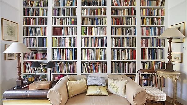 <p>Bookshelves in a home</p>