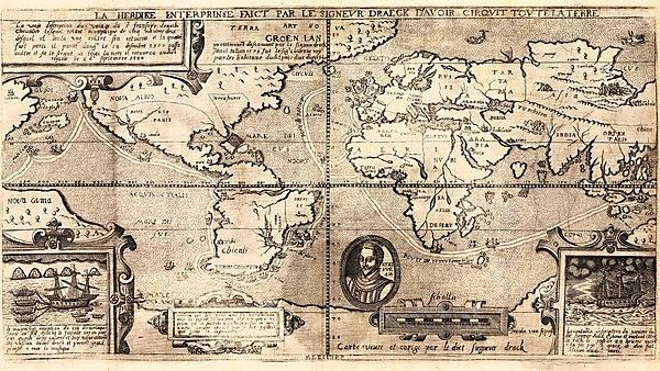 <p>Ancient world map created circa 1581, which purports to illustrate the expedition route of the explorer Sir Francis Drake.</p>