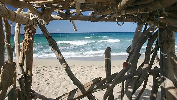 <p>A beach hut in the spirit of Robinson Crusoe</p>