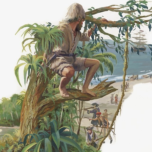 <p>Series of illustrations of castaway Alexander Selkirk in isolated jungle home, rats attacking him at night, and fire used as rescue signal.<br></p>