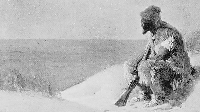 <p>Antique photo of paintings: Robinson Crusoe<br></p>