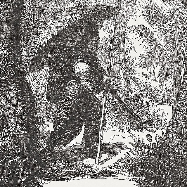 <p>Robinson Crusoe by Daniel Davoe, wood engraving, published in 1881.<br></p>