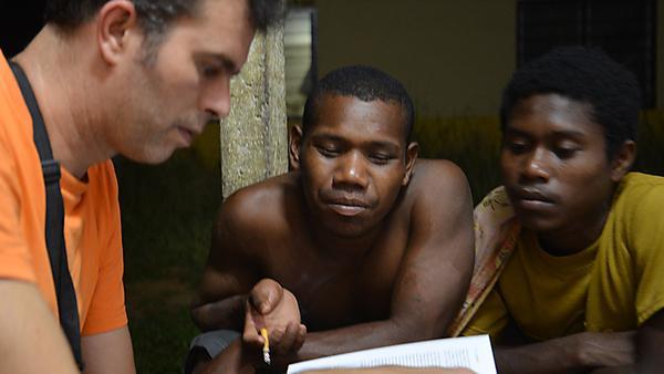 Ivan rechecking data with Batek friends in Kelantan, Malaysia