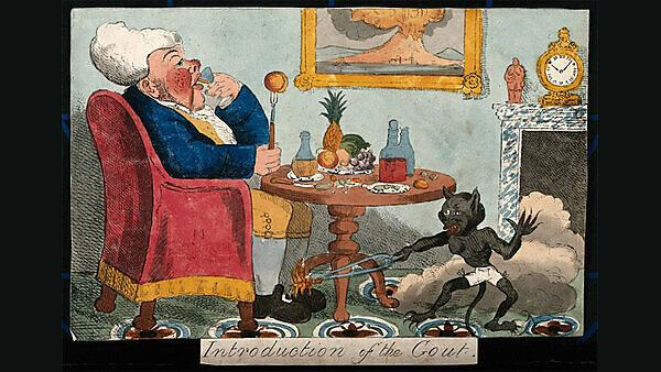 'Introduction of the Gout' by George Cruikshank, 1818.  Source: The Wellcome Collection.