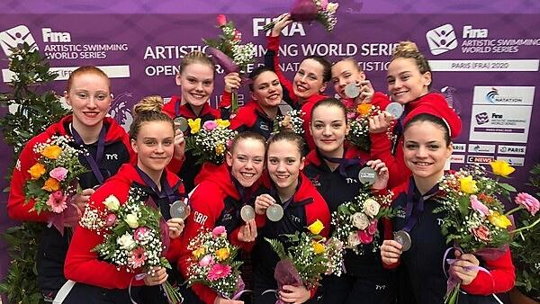 Great Britain's artistic swimmers, including Cerys Hughes (top left), win another silver medal at the FINA World Series in Paris 2020