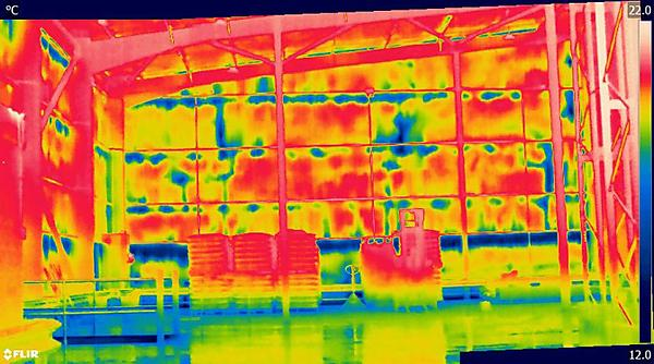 <p>A thermal image of a building. Credit Dr Matthew Fox.</p>