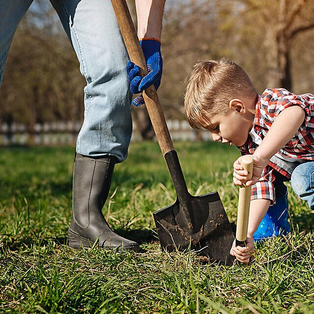 <p>Child and parent digging or gardening.</p>