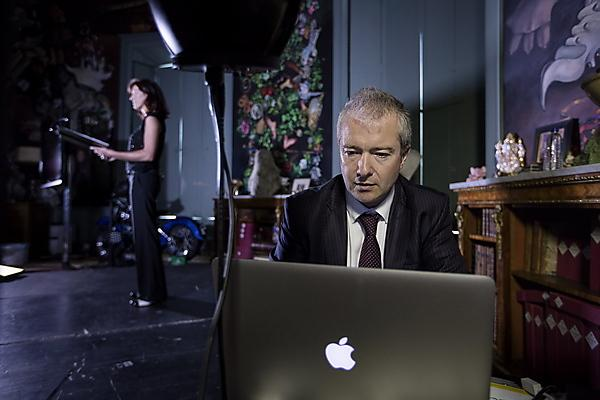 <p>Dr Alexis Kirke and soprano Juliette Pochin during the first duet between a live singer and a quantum supercomputer at the 2016 Port Eliot Festival<br></p>