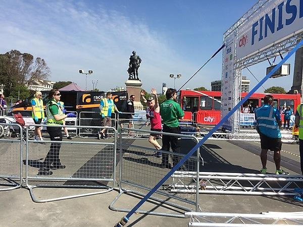 Matt Page, Co-Ordinator for the Peninsula Clinical Trials Unit at University of Plymouth, crossing the finish line