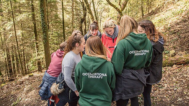 <p>Occupational Therapy students in Sharpham woods.<br></p>