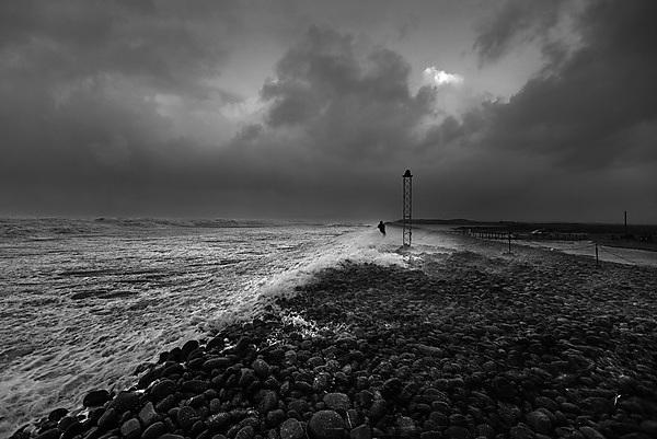 Westward Ho! Gravel barrier during a storm in 2014