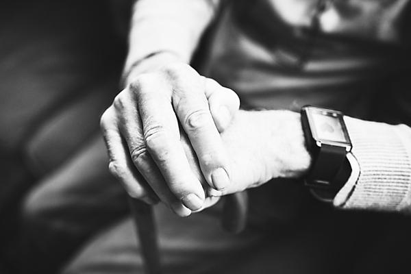 <p>Hands of elderly man with a smart watch/wearable technology on. Getty Image.</p>