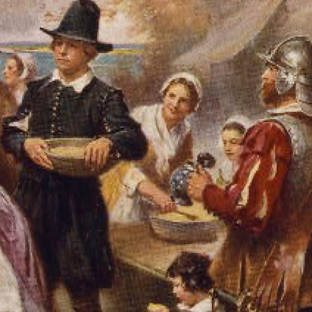 <p>The First Thanksgiving 1621, J L Gerome Ferris. (section)<br></p>