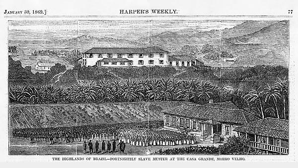 <p>'The Fortnightly Slave-Muster at the Casa Grande, Morro Velho', frontispiece in Richard F. Burton, The Highlands of Brazil (London: Tinsley Brothers, 1869)<br></p>