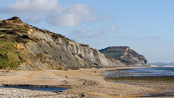 <p>Jurassic Coast cliffs at Charmouth Dorset - View of the beach and the fossil rich cliffs at Charmouth, near Lyme Regis, on the Jurassic Coast<br></p>
