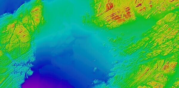 <p>A bathymetric image of an area south of Plymouth Sound showing the combined multibeam echosounder datasets from three different survey vessels<br></p>