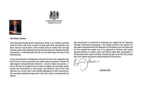 <p>Prime minister endorsement letter for dementia friendly communities guide</p>