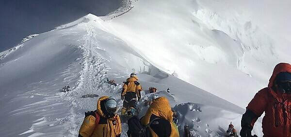 <p>High-elevation climbers and Sherpa at the Balcony during the National Geographic and Rolex Perpetual Planet Everest Expedition (Credit Baker Perry, National Geographic)<br></p>