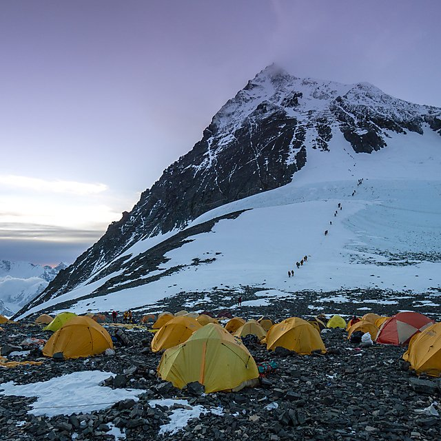 <p>Climbers tents made from acryllic at Camp IV during the National Geographic and Rolex Perpetual Planet Everest Expedition (Credit Mariusz Potocki, National Geographic)<br></p>