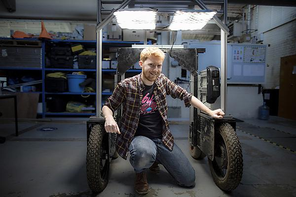Jake Gibson Shaw-Sutton with one of the Robotriks platforms