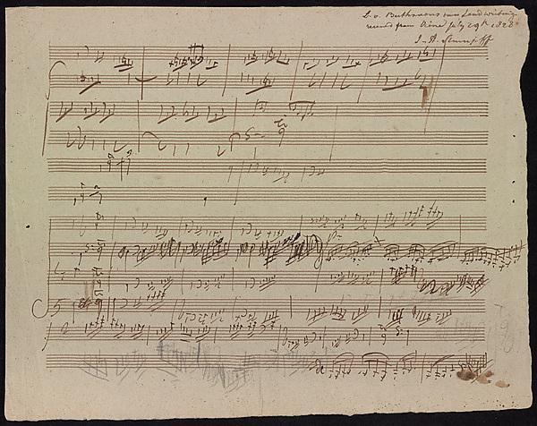 Beethoven - sketches for the fugue (fifth movement) of Piano Sonata Op.106'Hammerklavier'.Image courtesyof Dr William Scheide,Scheide Library, Princeton University
