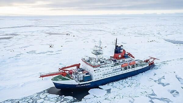 An aerial view of Polarstern and the ice camp (Credit: Jan Rohde)