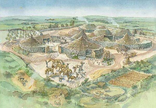 Artist's reconstruction of Carn Euny ancient village and field-system (Cornwall). © Historic England Archive. Illustrator Judith Dobie