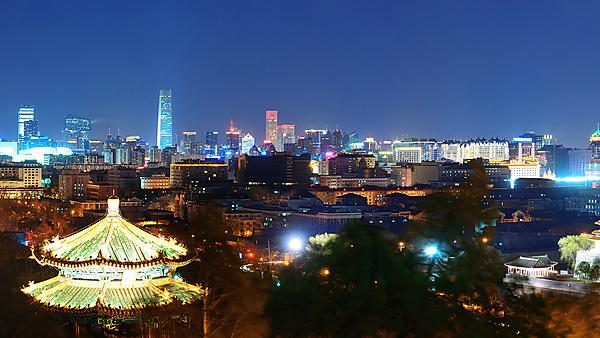 Beijing urban architecture and city skyline at night. Courtesy of Shutterstock